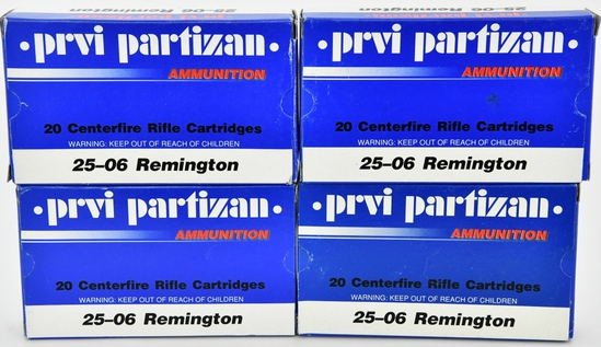 80 rds .25-06 Rem ammunition by PPU 90 gr