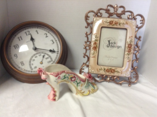 Clock, Frame French Porcelain Shoe