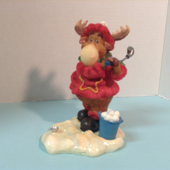 Golfing Moose Figurine