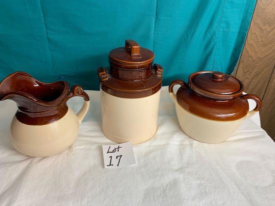 Vintage Stoneware Canister, Pitcher & Pot