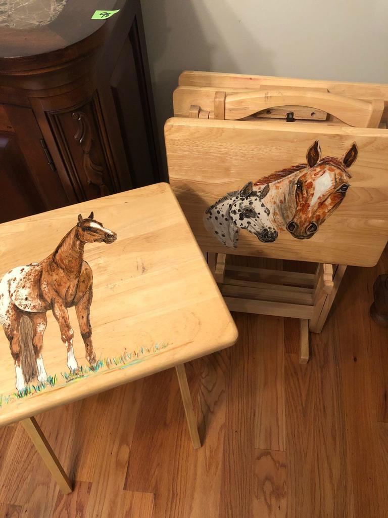 Hand Painted Woooden Tv Trays Online Auctions Proxibid