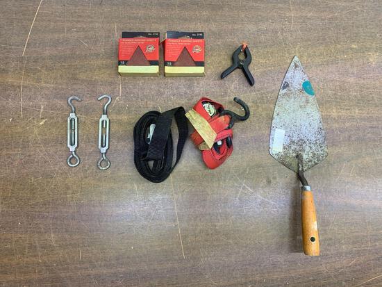 Ratchet strap, sanding sheets, etc. lot