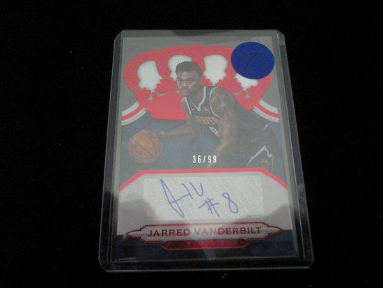 Jarred Vanderbilt Signiture And Numbered Card 36/99
