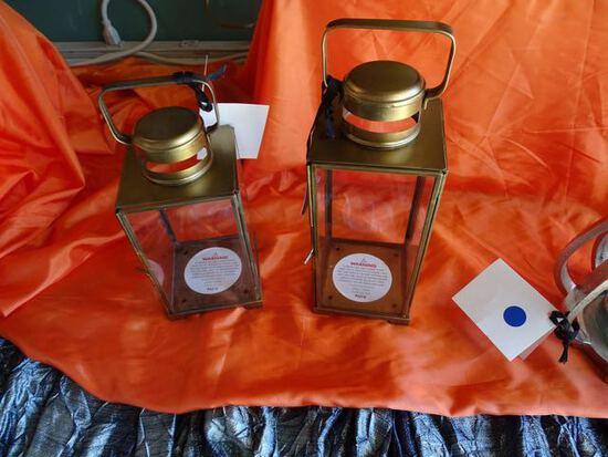 BRASS & GLASS LANTERNS (X2) RETAIL $33