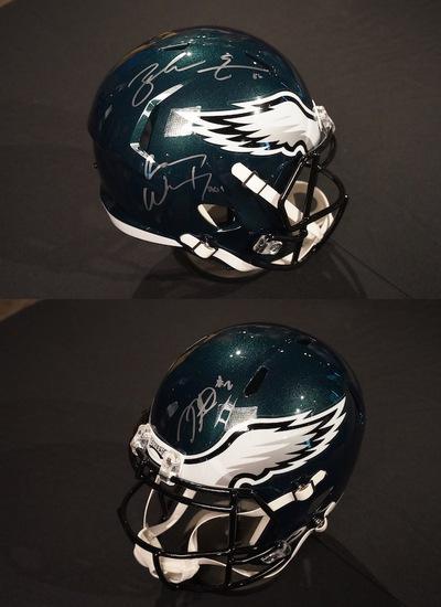Carson Wentz, Zach Ertz & Jalen Hurts Autographed Philadelphia Eagles Helmet