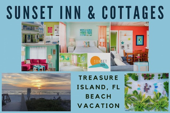 Beach Getaway at the Boutique Sunset Inn & Cottages, Treasure Island, FL