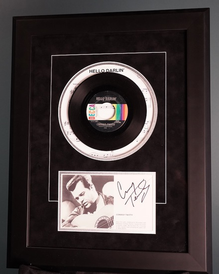 """Conway Twitty """"Hello Darlin'"""" Framed Autographed Record 18 x 23"""