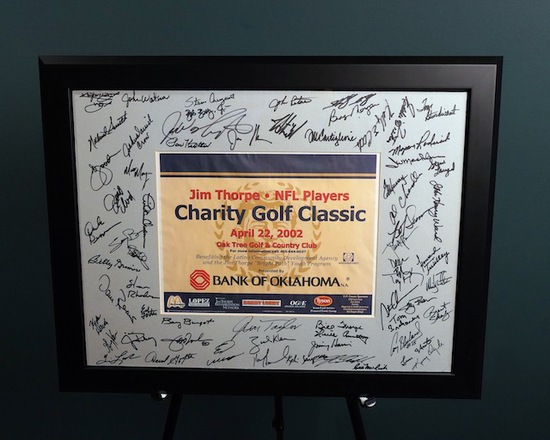Vintage Jim Thorpe/NFL Players Charity Golf Classic Tournament Framed Autographed Poster 28 x 23