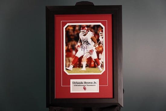 Orlando Brown Jr., Oklahoma Sooners Autographed Frame 15 x 21
