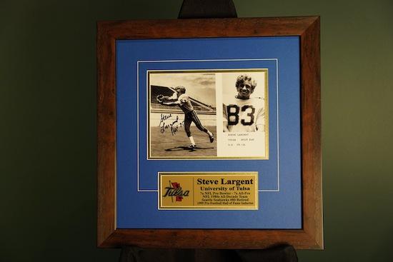Steve Largent, University of Tulsa Autographed Frame 18 x 18.5