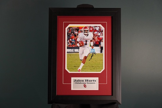 Jalen Hurts, Oklahoma Sooners Autographed Frame 15 x 20.5