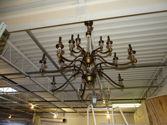 """CANDLE STICK HANGING LIGHT 42"""" TALL 45"""" ACROSS"""