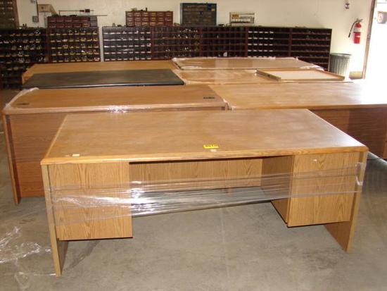 7 LARGE WOOD DESKS