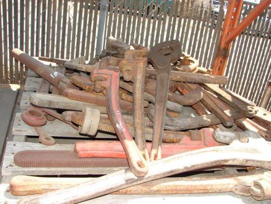 Assorted Pipe Wrenches Chain Wrenches and Parmalay Wrenches