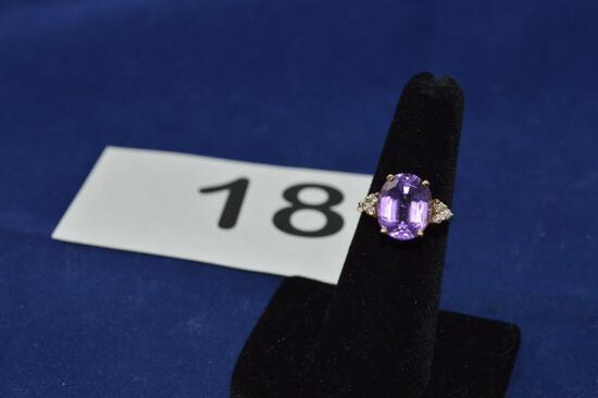 14K RING W/ AMETHYST & DIAMONDS 3.9 GRAMS Appraised value $110.00