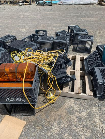 PALLET W/ LIGHTS AND CRATES