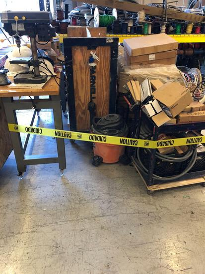Misc Carts, Parts, Drill Press, Vacuum