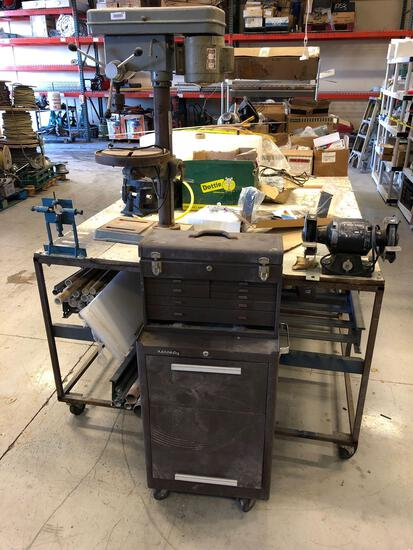 Work Bench, Shelves, Tool Box, Contents