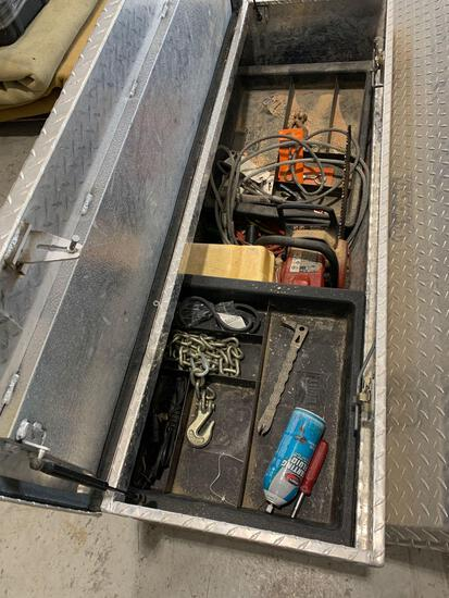 TRUCK TOOLBOX W/ TOOLS AND MISC.
