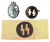 NAZI SS ARM BAND, ARMY PANZER SILVER ASSAULT BADGE, SS MEMBER PIN by GES GESCH