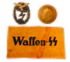 WAFFEN/SS ARM BAND, LUFFWAFFE GROUND ASSAULT BADGE & HANS SCHEMM MEDAL