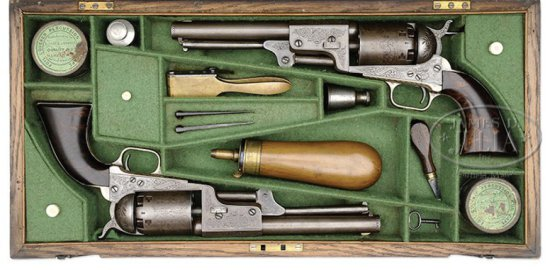 RARE CASED ENGRAVED PAIR OF HARTFORD/LONDON 3RD MODEL DRAGOON PERCUSSION REVOLVERS- NRA SILVER MEDAL