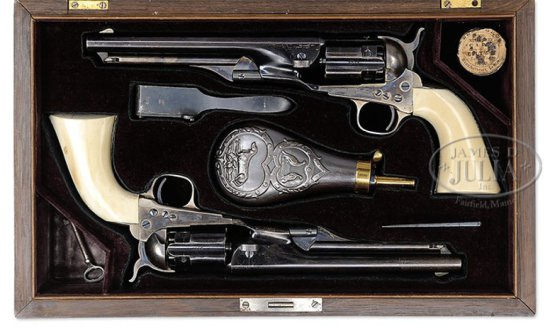 EXTRAORDINARY CASED BRACE OF COLT MODEL 1860 FLUTED ARMY PERCUSSION REVOLVERS THAT BELONGED TO SPANI