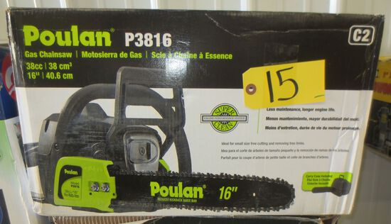 "Poulin 38 cc 16"" Gas Chain Saw"