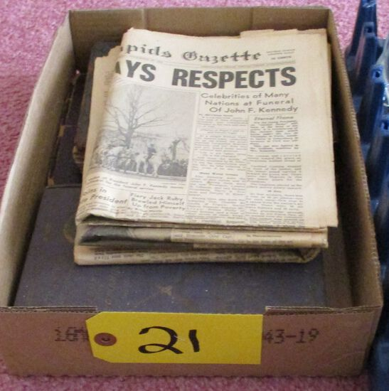 Cedar Rapids Gazette JFK Assassination Papers, 1906 San Francisco Horror Novel, 1937 World Atlas, 19