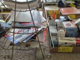 Magazine Rack With Misc. Magazines and Misc. Light bulbs
