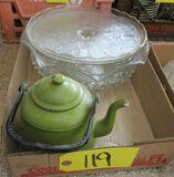 Tea Kettle, Cake Plate, Punch Bowl