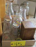Milk Bottles, Marbles McClurg Crayon Box, Typewriter Ribbon Container