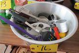 Large Metal Bowls of Kitchen Utensils