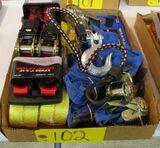 Ratchet Tie Downs, Tow Straps, Drill Bit Set