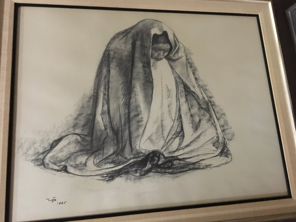 Zuniga original framed charcoal of woman