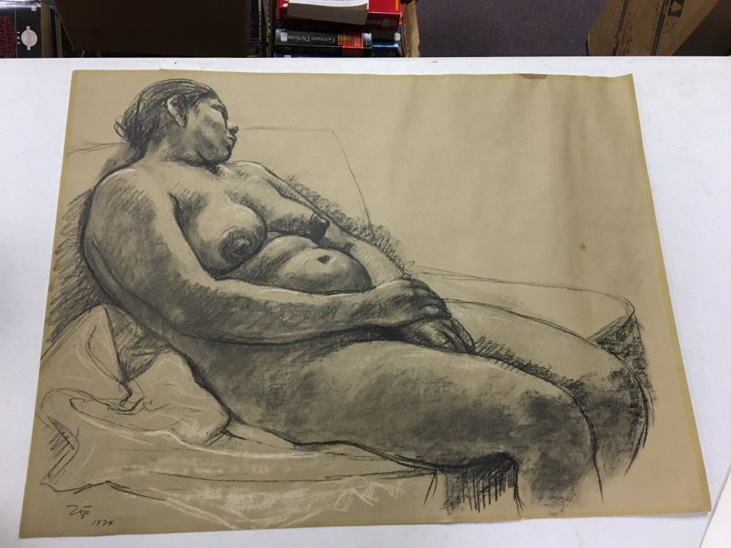 Zuniga original charcoal of nude woman