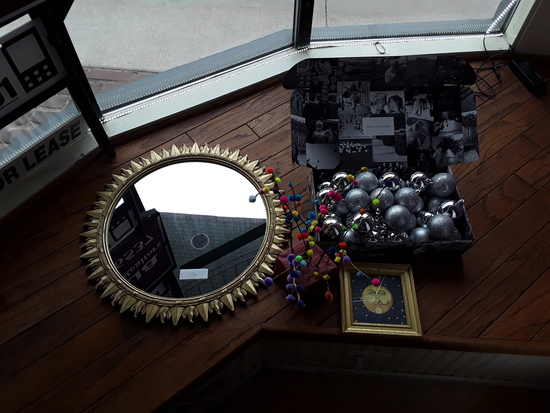 Mirror, ornaments, artwork, cotton ball tree