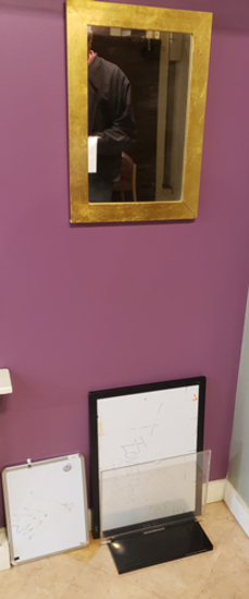 Mirror, dry erase boards and display