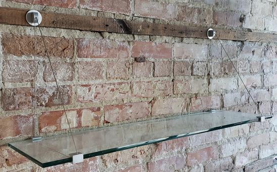 (4) glass shelf units