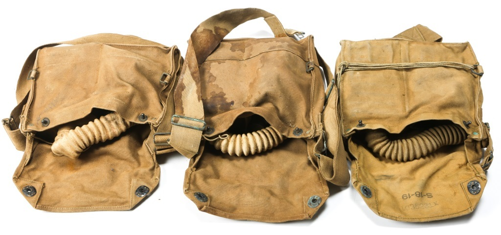 Lot: WWI US ARMY DOUGHBOY GAS MASK LOT OF 3   Proxibid Auctions