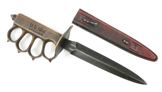 WWI US ARMY M1918 LF&C TRENCH KNIFE WITH SCABBARD
