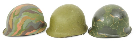 US ARMY TRENCH ART M1 COMBAT HELMET LOT OF 3