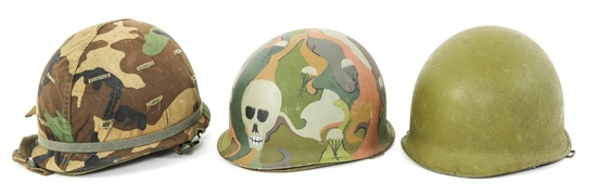 US ARMY M1 COMBAT HELMET WITH LINER LOT OF 3