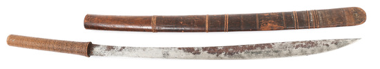 BURMESE DHA SWORD WITH WOODEN SCABBARD