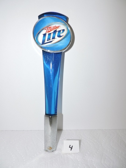 """Miller Light Tapper Handle, 2 sided, 12"""", Shows wear in metal & acrylic"""