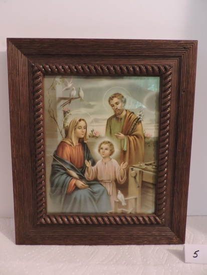 "Religious Picture, Wooden Frame, 13 3/4"" x 11 3/4"" including frame"
