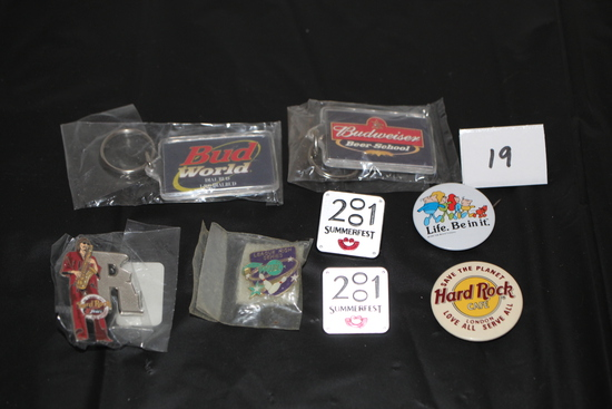 Assorted Pins & Key Chains
