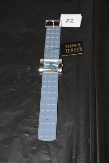 "Bijoux Terner Quartz Watch & Case, Rubber Band, 8 1/2"""