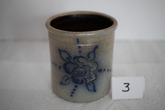 "Red Wing Pottery, 1997, MW, Blue Flower, 3 1/2"" x 3 1/4"" round"