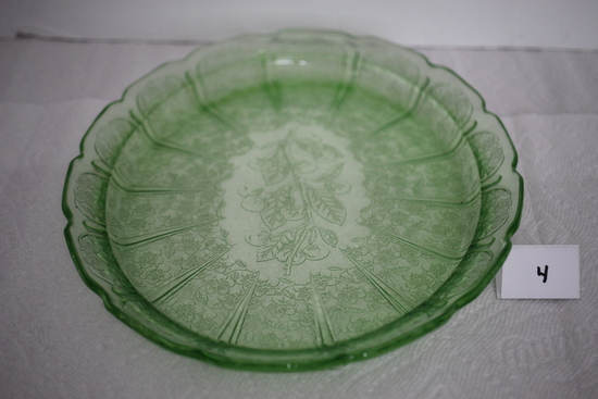 "Green Depression Glass Serving Platter, Cherry Blossoms, Jeanette, 13"" x 9 3/4"", Has marks"